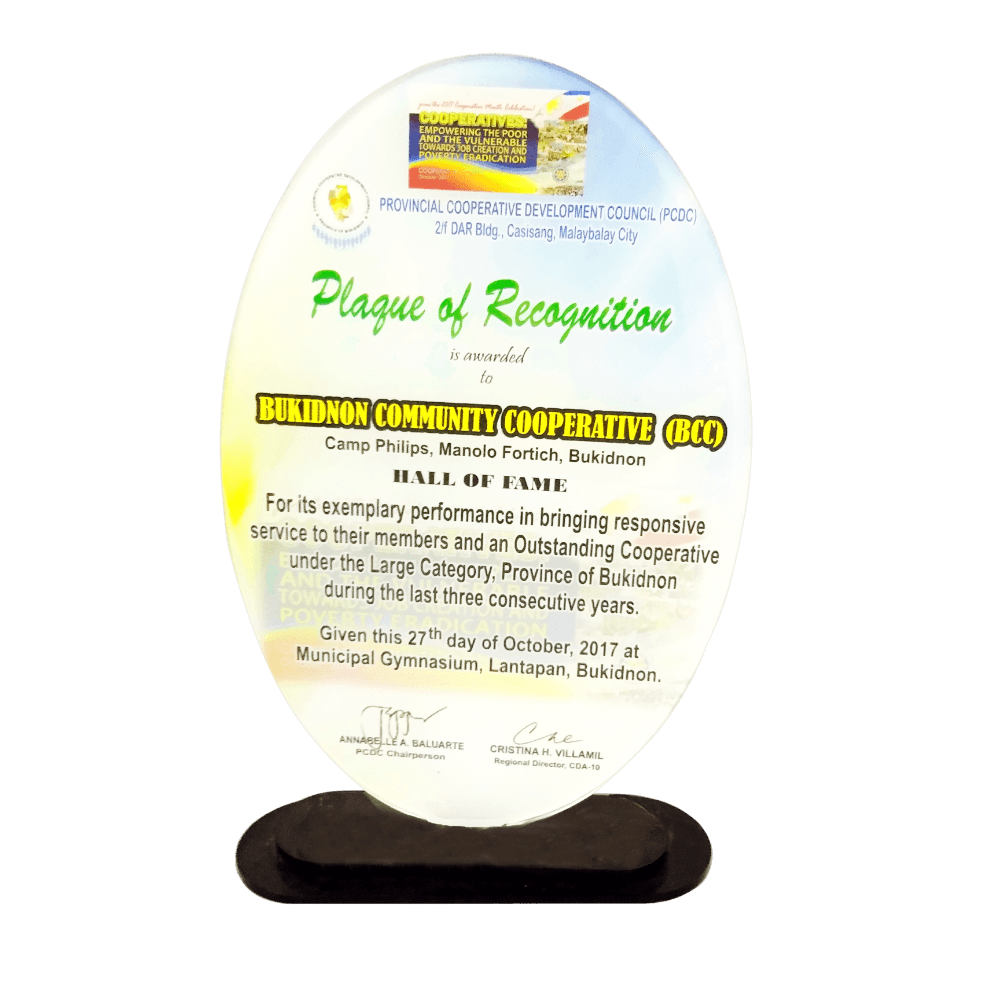 BCC Plaque of Recognition