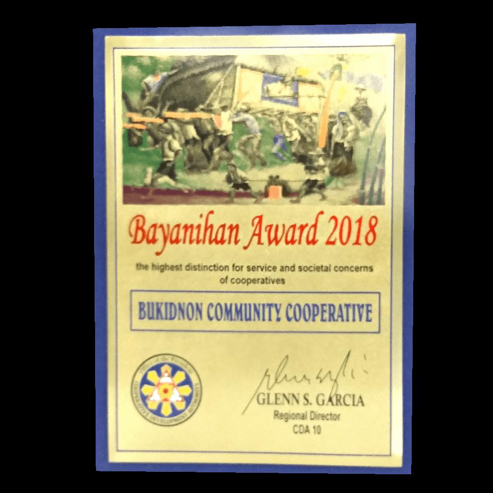 BCC Bayanihan Award 2018 Plaque