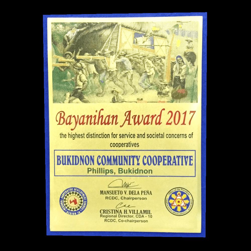 BCC Bayanihan Award 2017 Plaque